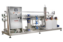 Reverse osmosis for industrial processes or for the industrial production of soft drinks, mineral water and beer